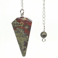 Natural Dragon Blood Stone Bonded Pendulum Healing Crystal Reiki Dowsing Tool