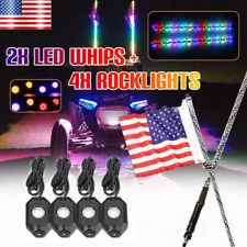 2X chasing LED Whip Lights 3 Ft And 4 LED PODS Underglow Rock Lights Strobe