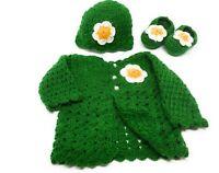 Crochet Baby Sweater  Hat newborn outfit Set Booties Cardigan