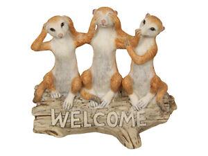 New 1pce 12cm Wise Meerkats on Log Welcome Resin Garden Décor Cute