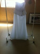 White Silk A-Line Rhinestone Wedding Dress Gown - Size 10