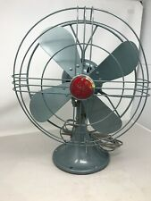 Vtg 1950s General Electric GE No FM12541 Blue Gray Oscillating Fan ~ 2 speed