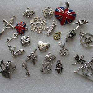 20 Mixed Charms Silver Plated.  Crafts Jewellery Making