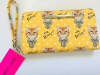 Betsey Johnson XOX Fluffy Marmalade Cat Bow Wristlet  Wallet Yellow Color