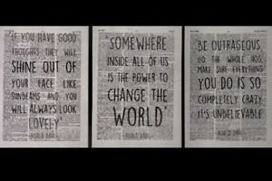 3 X Roald Dahl Quotes Vintage Dictionary Page Wall Picture Print Good Thoughts
