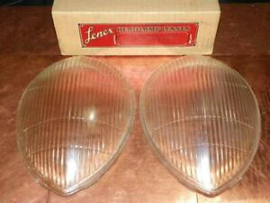 NOS New Lenex Headlight Lens Pair fits Ford DeLuxe 1937 1938 Standard 1939
