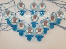 12 Elephant Pacifier Necklaces Baby Shower It's a boy Games Prizes Favors Jungle