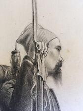 Très beau Dessin original Militaire zouave mine de plomb 1850 signé