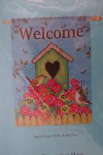 "Large 29""x43"" Garden decorative Welcome Flag New Birdhouse Birds Flowers"