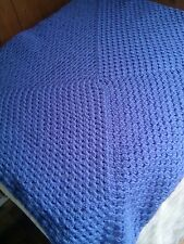Hand Made Crochet Baby Blanket  30x30 inches Pram Cot SEA BLUE  FREE POST