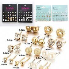 12 Pair Fashion Rhinestone Crystal Pearl Earrings Set Women Ear Stud Jewelry New