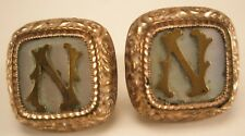 """N Initial Monogram Vintage Victorian Cuff Links Pat Aug 1880 Marked """"Acme"""""""