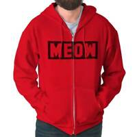 Meow Cat Shirt | Funny Clothes Cute Kitten Person Pet Lover Zip Hoodie
