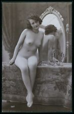 French nude woman seated mirror makeup original 1920s old RPPC photo postcard