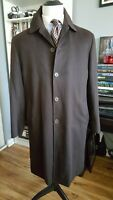 * LORO PIANA * Solid Brown 100% Cashmere Storm System Full Length Overcoat 44R