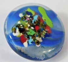 VTG END DAY GOLD MICA FLAKE PAPERWEIGHT ART GLASS MARBLE BUTTON 7/8