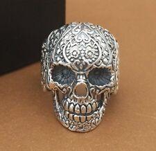 Solid 925 Sterling Silver men's Huge skull Biker Ring us size 8-11.5 S2298