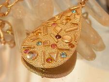 FABulous Sarah Cov Vintage 70's Mellow Gold Blue Pink Purple Necklace 102my7
