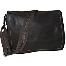 Levenger Bomber Jacket Mocha Leather Laptop Crossbody Messenger Bag AL7420 MO