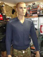 Pull bleu col en v de l'Armée de l'Air taille 80 (XS) en pure laine vierge