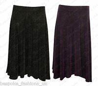 Ladies Women's Sparkly Glitter Lurex Elasticated Flared Swing Skirt Plus Size