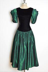 vintage 80s prom dress black velvet green taffeta puff sleeve party gown M