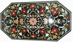 24 x 48 Inches Black Marble Dinning Table Top Inlay Sofa Table with Inlay Art