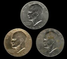 *UGLY IKE 3 COIN SET* 1971 D, 1974 P, 1976 D Eisenhower Dollar US Mint (Exact)