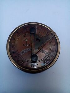 Brass Antique Finish Ross London 1862 Time Reader Nautical Vintage Compass