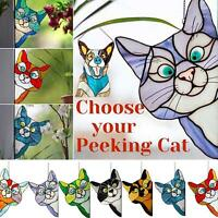 2x Cat Stained Glass Sun Catcher SuctionCup Window Hanging Suncatcher Home Decor