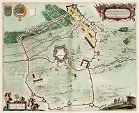 MAP ANTIQUE 1649 BLAEU SIEGE HESDIN FORT OLD LARGE REPLICA POSTER PRINT PAM0067