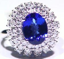 5.55ct 14k ORO Tanzanita Natural Diamante Vintage AAA Anillo Compromiso Boda