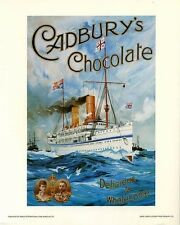 Cadbury's Chocolate: Vintage Adv. Poster Repro - British Ship at Sea - 8x10 In.