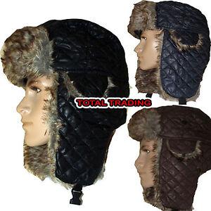 mens trapper hat with faux fur trim russian warm  NEW DIAMOND QUILT