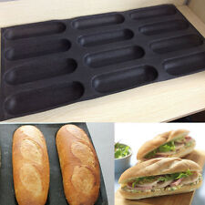 """Silicone Fiberglass 9"""" French Bread Baking 12 Rolls Mold Baguette Pan Bakeware"""