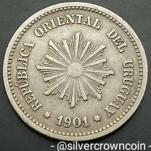 Uruguay 2 Centesimos 1901 A. KM#20. Two Cents coin. Berlin mint. Radiant Sun.