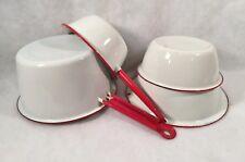 4 Pieces White Enamelware w/Red Trim