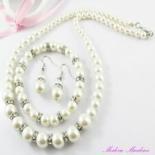 3pce Glass Pearl & Rhinestone Necklace, Bracelet & Earring Set Suit Bridal & Deb