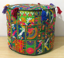"""18"""" Indian Handmade Ottoman Pouf Cover Round Cotton Patchwork Green Footstool"""