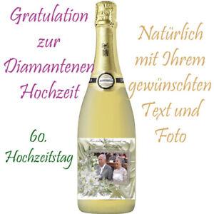 Flaschenetikett/Flaschenaufkleber Diamantene Hochzeit* 60.Hochzeitstag, glänzend