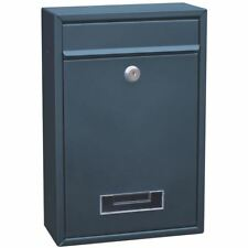 Steel Square Post Box Grey Large Mail Letter Lockable Keys New By Home Discount