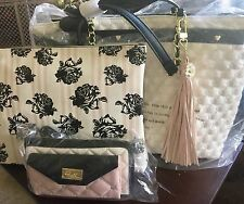 3pc Betsey Johnson Bow Tote Bag 2 In Quilted Floral Rose Bag Wallet On A String