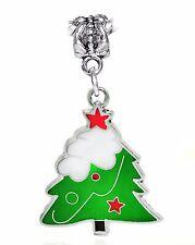 Oversized Green White Enamel Christmas Tree Dangle Charm for European Bracelets