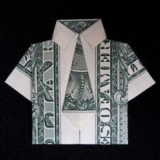 Real $1 Bill Origami Dollar Mens Dress SHIRT with Tie Lucky Charm Money Handmade