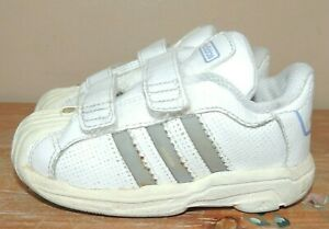 BOYS GIRLS ADIDAS SUPERSTAR TODDLER LEATHER SNEAKERS SHOES WHITE EASY ON/OFF 7K