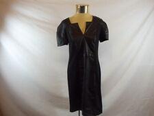 Women's BEIGE ECI Black Faux Leather Detail Short Sleeved Zipper Back Dress Sz 8