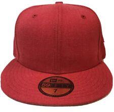 New Era Plain Tonal 59Fifty Fitted Hat Heather Scarlet Men's Blank Cap 7