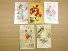 15 Valentine Postcards Antique Vintage Embossed few German Junk Journal Crafting