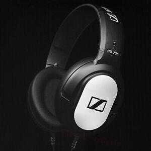 New Sennheiser HD 206 Wired Over Ear Headphones Closed-Back Bass Silver Black