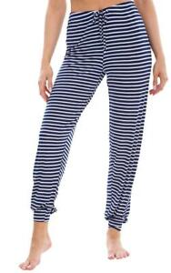 Ladies Navy Stripes PJ'S Pyjama Bottoms Nightwear
